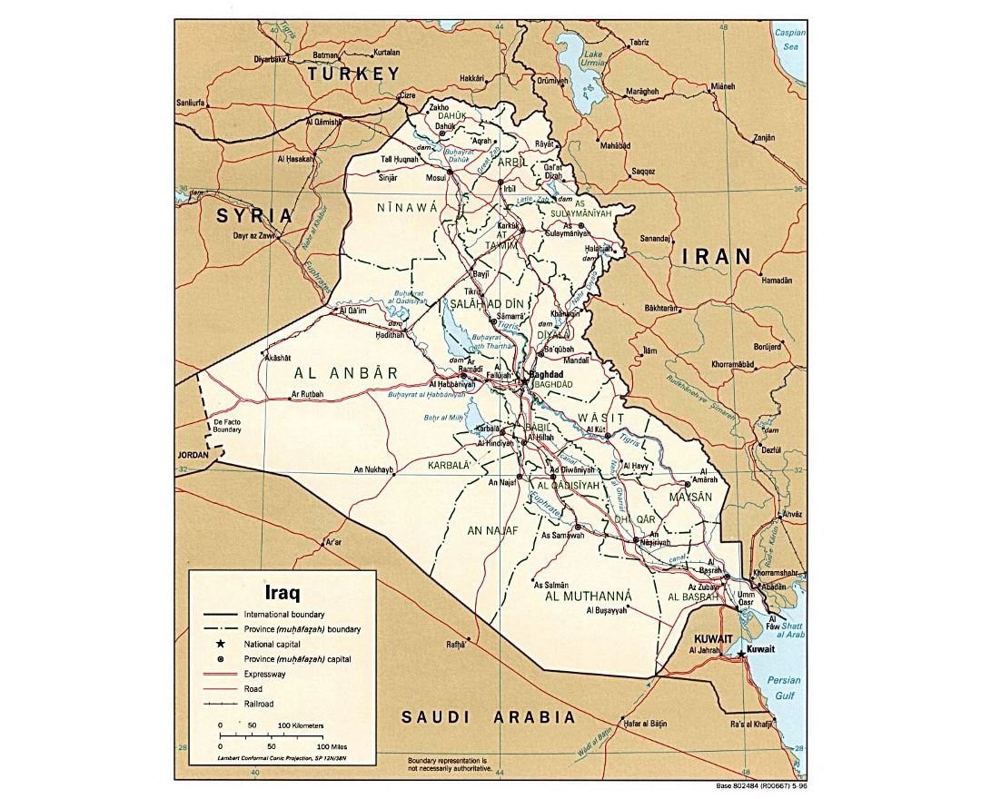Detailed political and administrative map of Iraq with roads, railroads and major cities - 1996