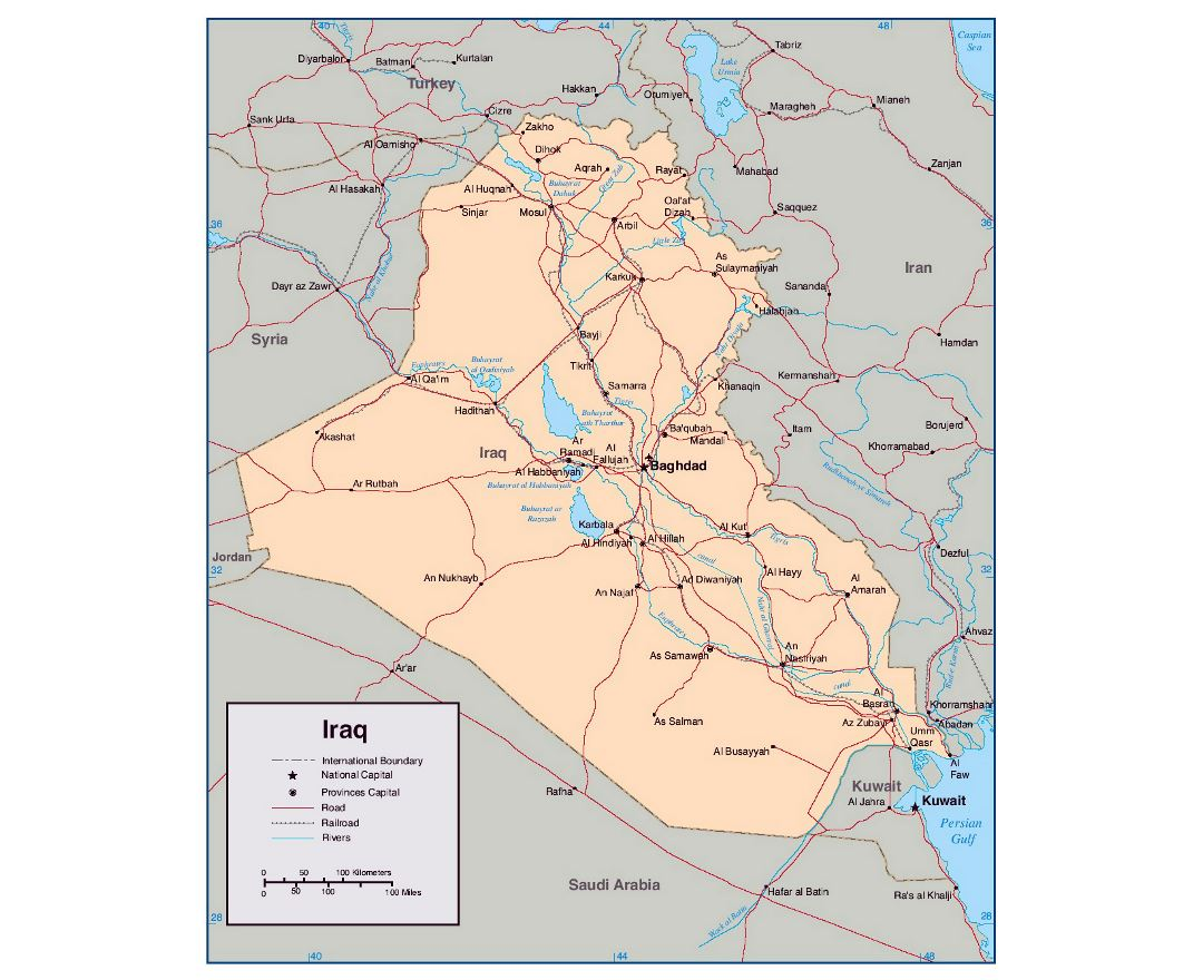 Detailed political map of Iraq with rivers, roads, railroads and major cities