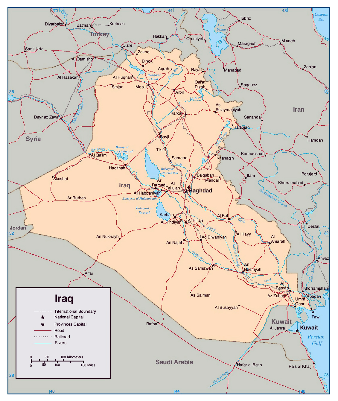 Detailed political map of Iraq with rivers roads railroads and