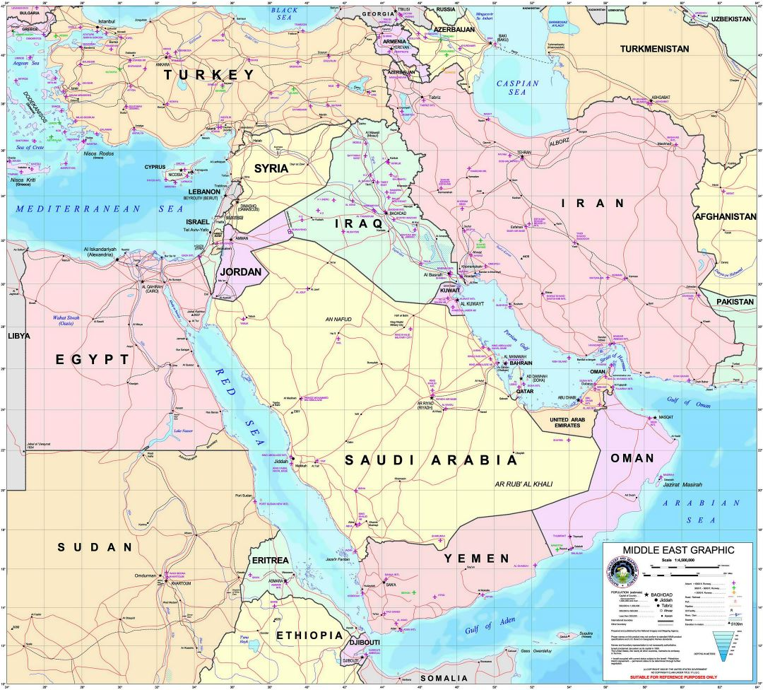 Large detailed Middle East graphic map with all air force bases - 2003