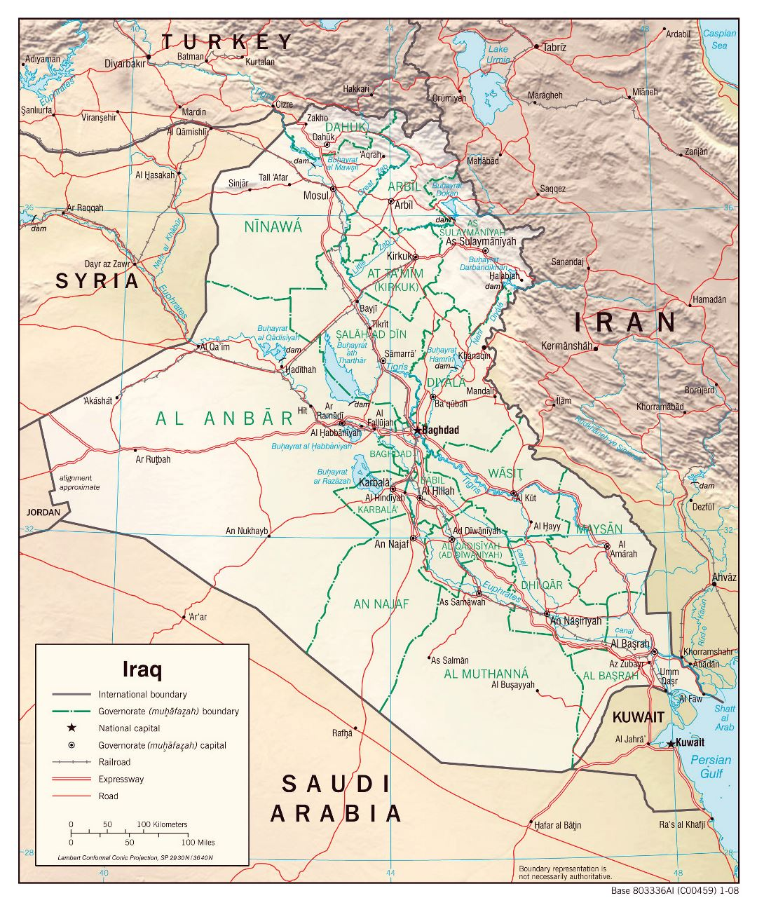 Large detailed political and administrative map of Iraq with relief, roads and cities - 2008