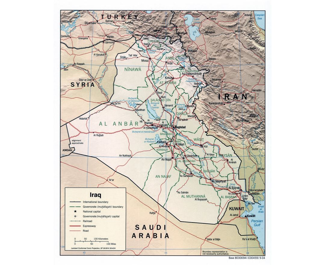 Large detailed political and administrative map of Iraq with relief, roads, expressways, railroads and major cities - 2004