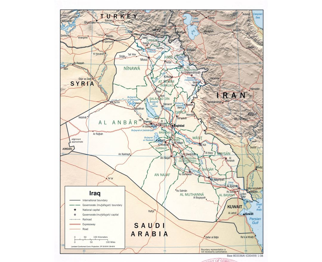 Large detailed political and administrative map of Iraq with relief, roads, expressways, railroads and major cities - 2008