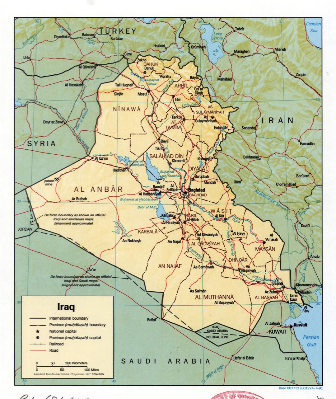 Large detailed political and administrative map of Iraq with relief, roads, railroads and major cities - 1991