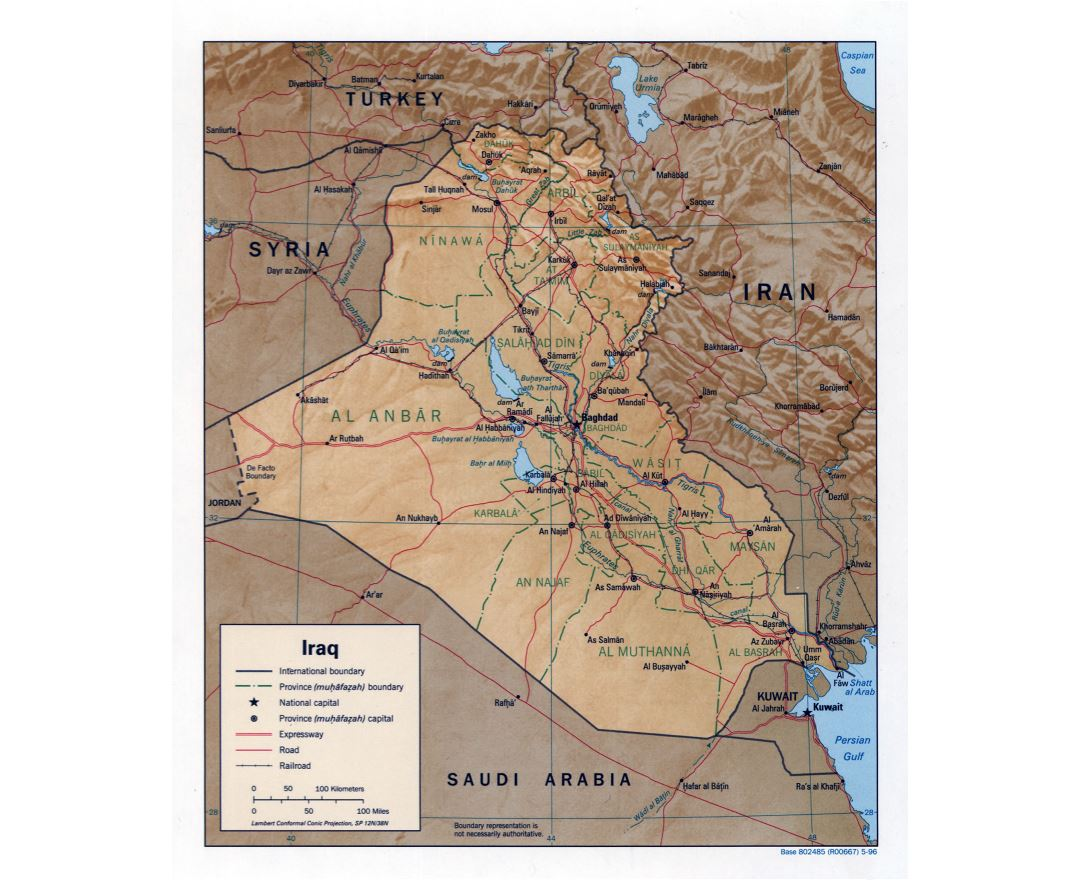 Large detailed political and administrative map of Iraq with relief, roads, railroads and major cities - 1996