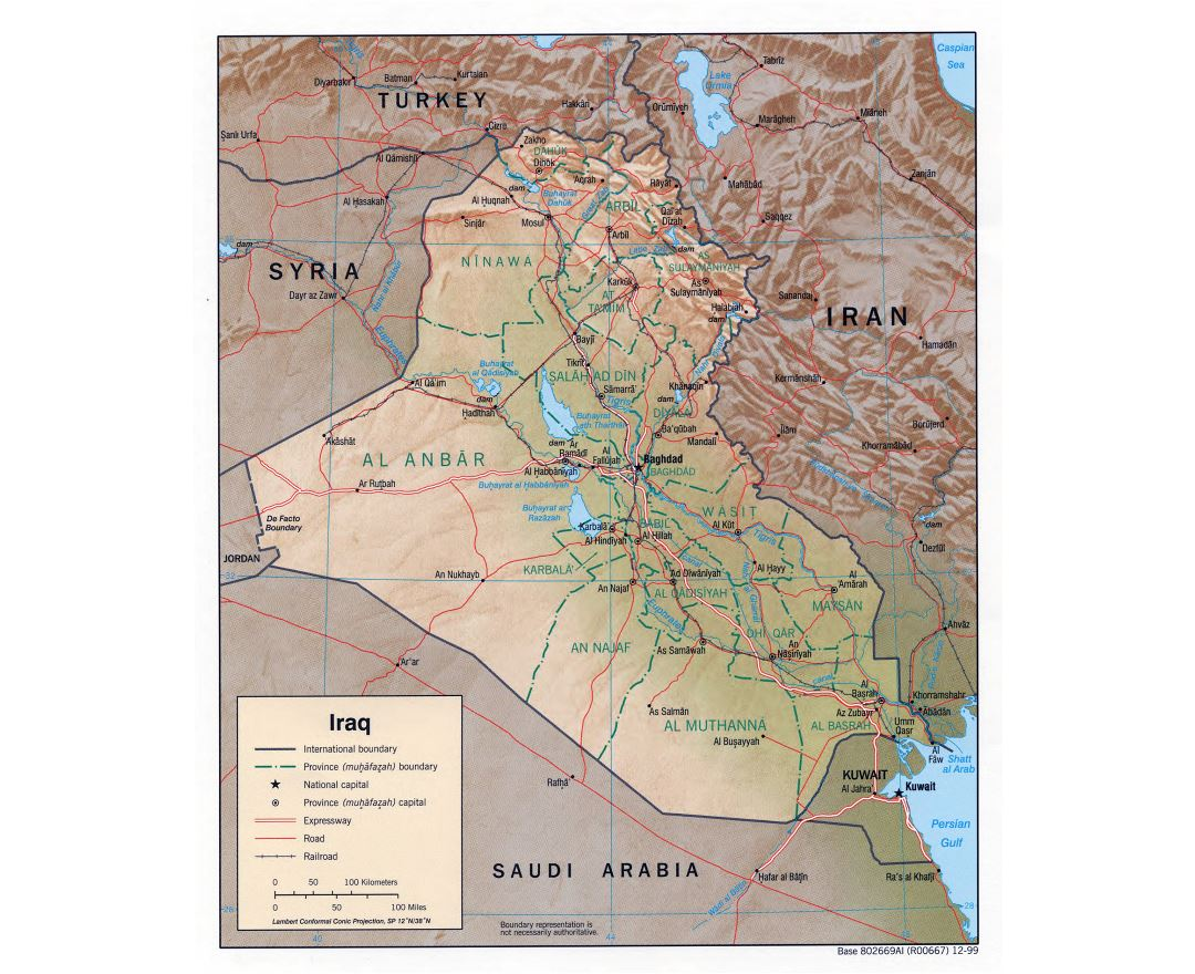 Large detailed political and administrative map of Iraq with relief, roads, railroads and major cities - 1999