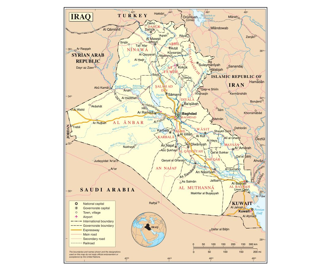 Large detailed political and administrative map of Iraq with roads, cities and airports