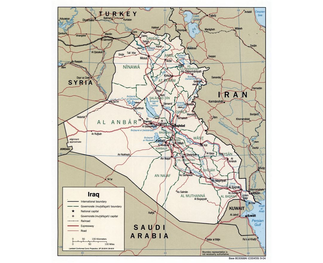 Large detailed political and administrative map of Iraq with roads, expressways, railroads and major cities - 2004