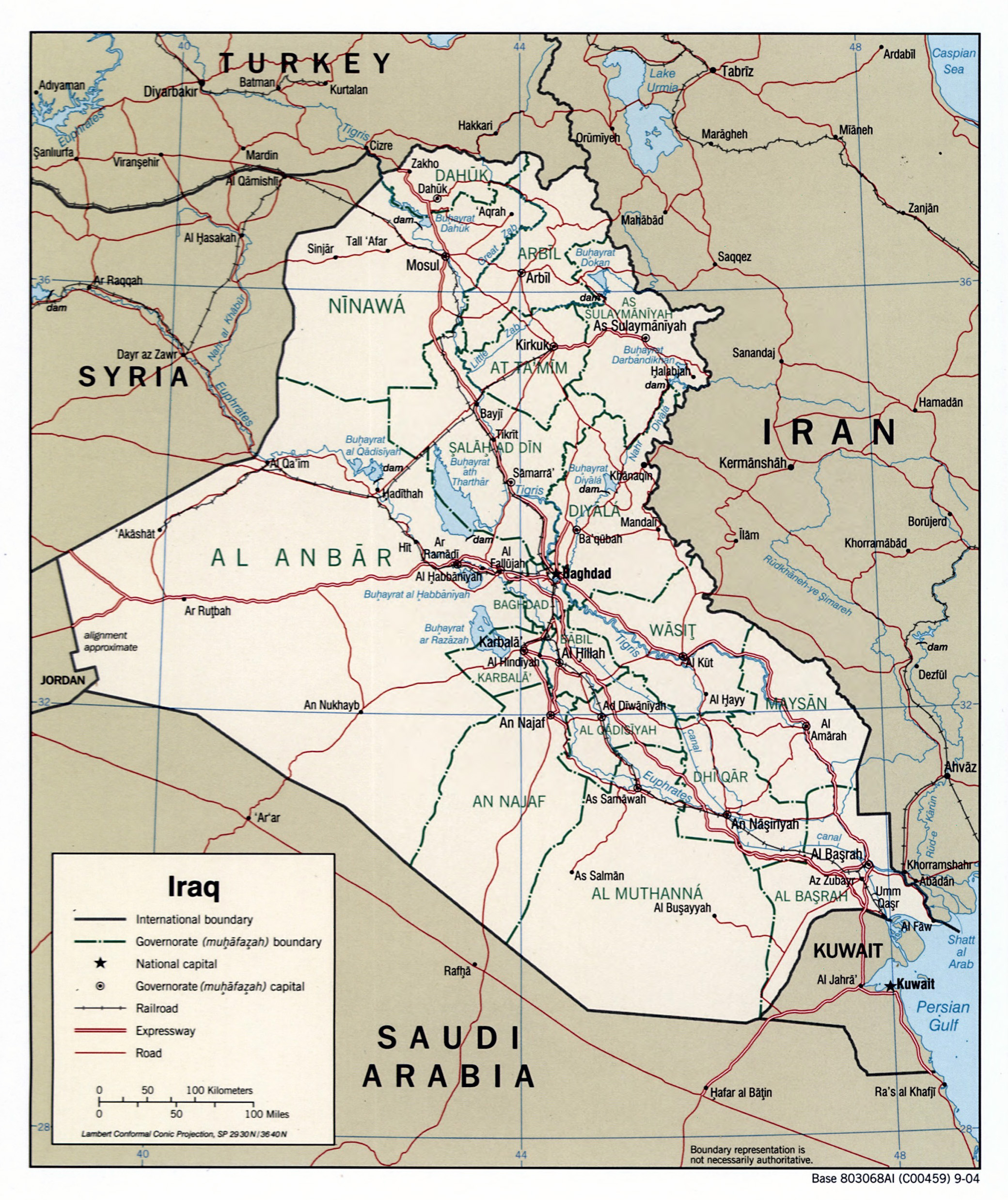 Large detailed political and administrative map of Iraq with roads