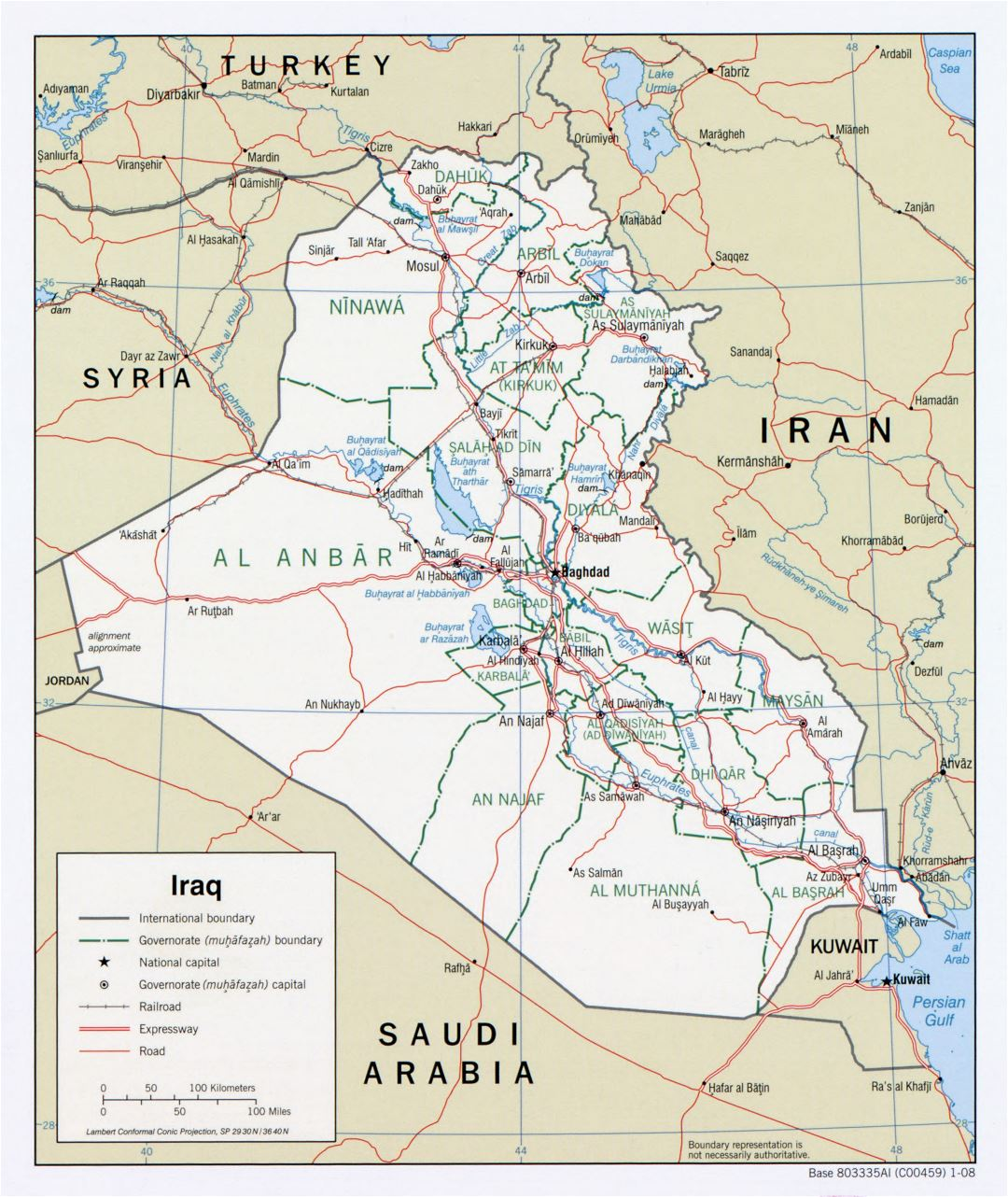 Large detailed political and administrative map of Iraq with roads, expressways, railroads and major cities - 2008
