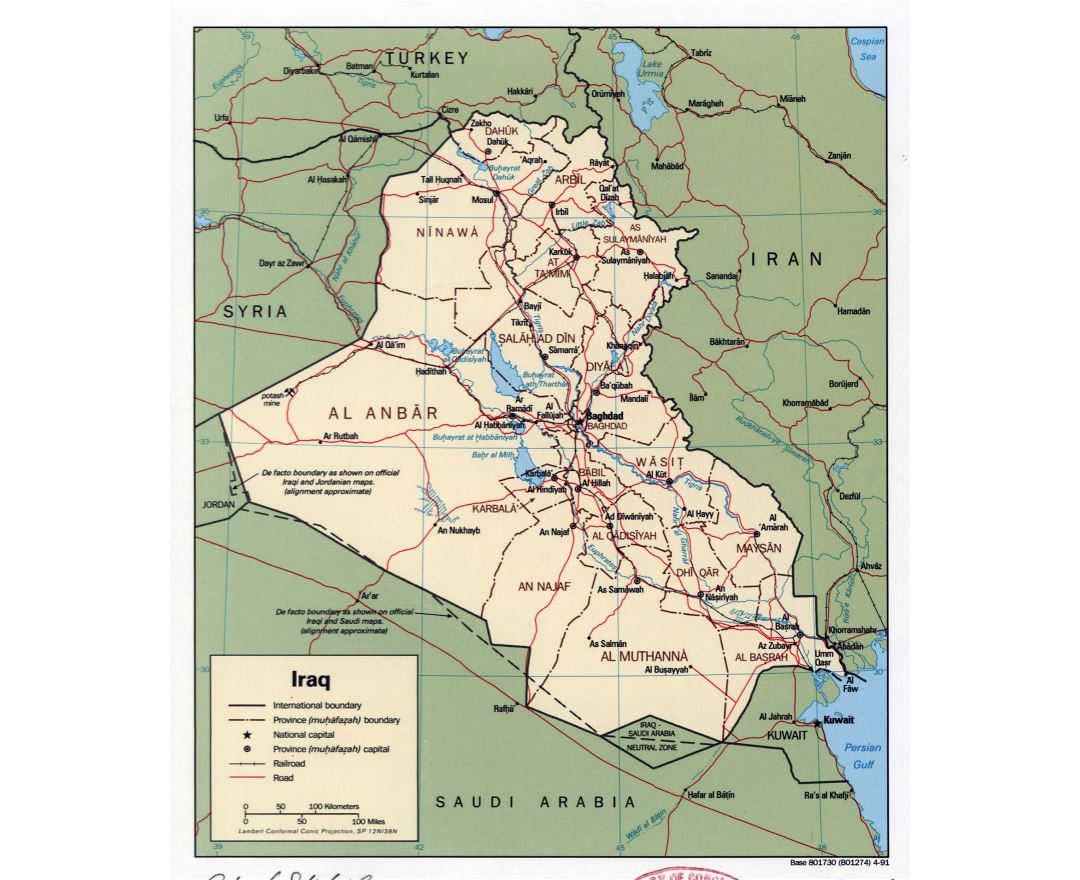 Large detailed political and administrative map of Iraq with roads, railroads and major cities - 1991