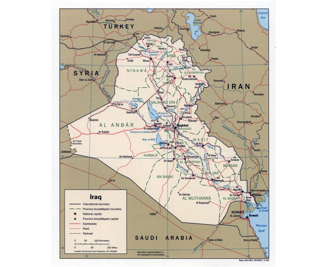 Large detailed political and administrative map of Iraq with roads, railroads and major cities - 1996