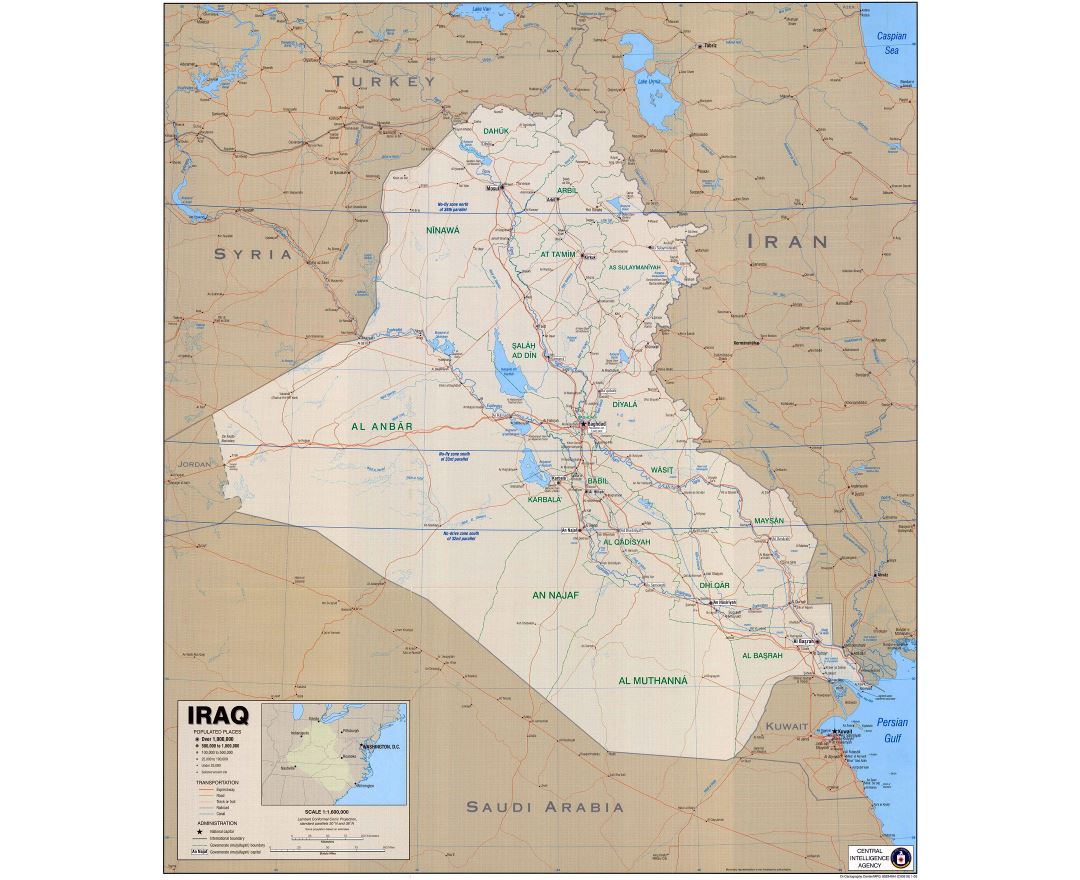 Large detailed political map of Iraq with roads, expressroads, cities and other marks - 2003