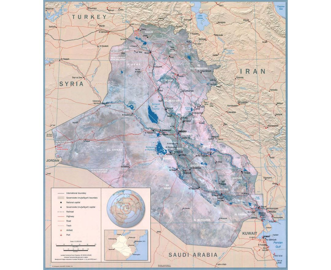 Large detailed political wall map of Iraq - 2003