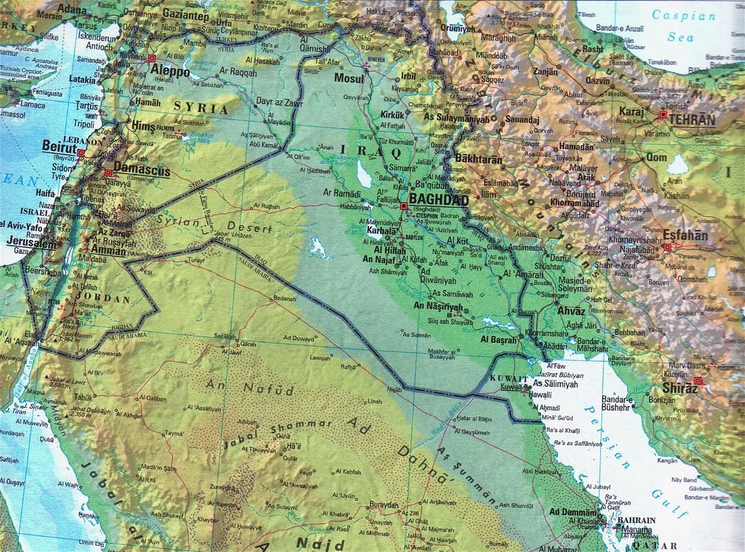 Large detailed topographical and political map of Iraq