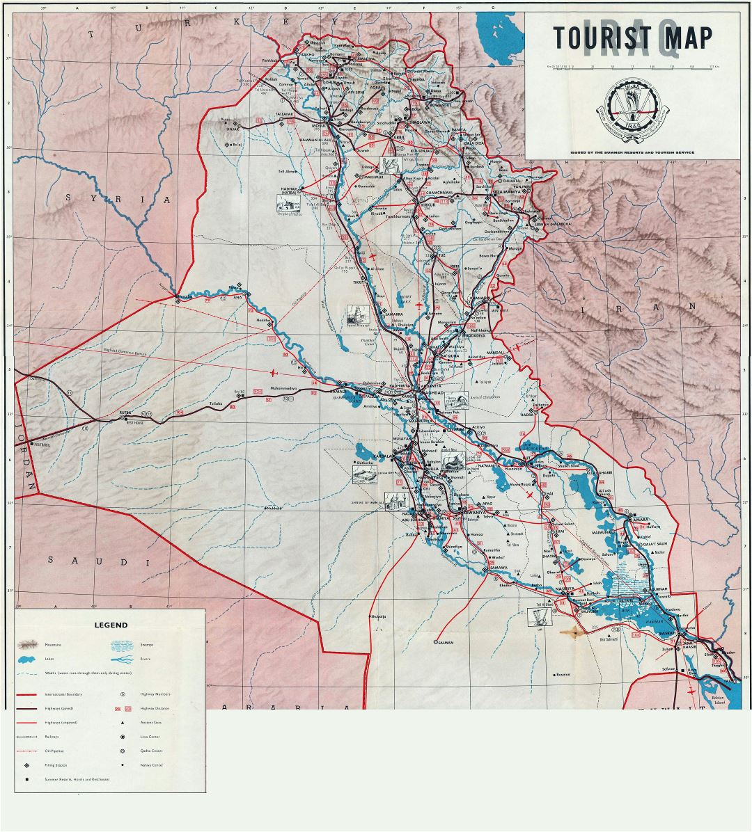 Large detailed tourist map of Iraq - 1970