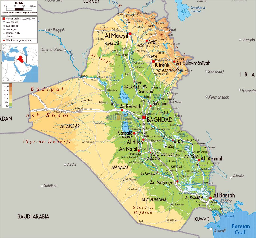 Large physical map of Iraq with roads, cities and airports