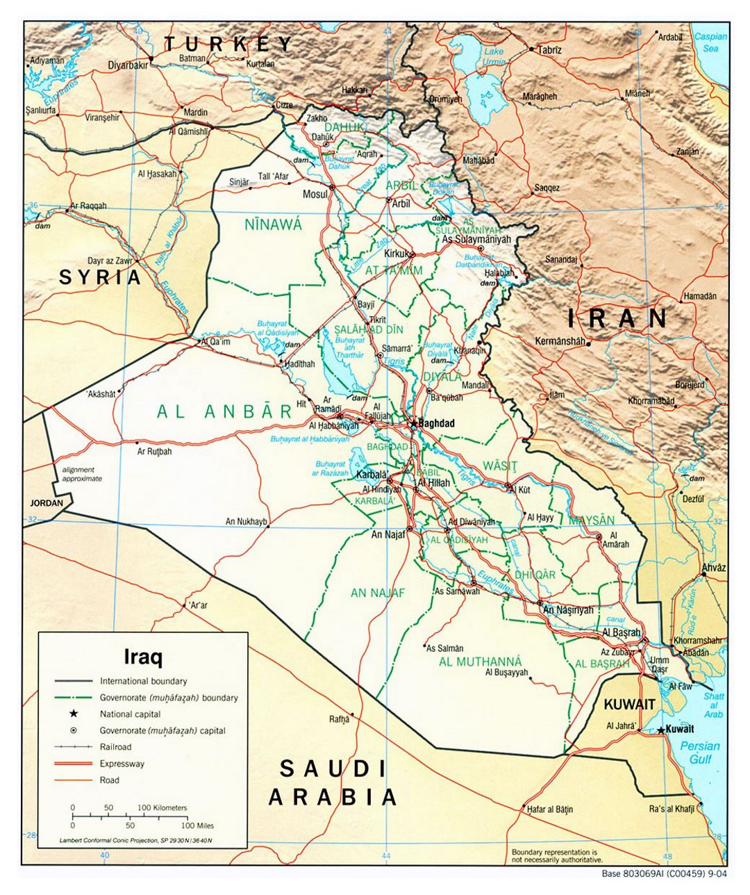Large political and administrative map of Iraq with relief, roads and cities - 2004