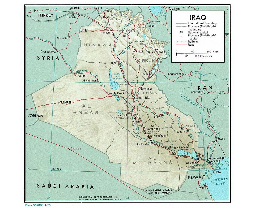 Large political and administrative map of Iraq with relief, roads, railroads and major cities - 1976