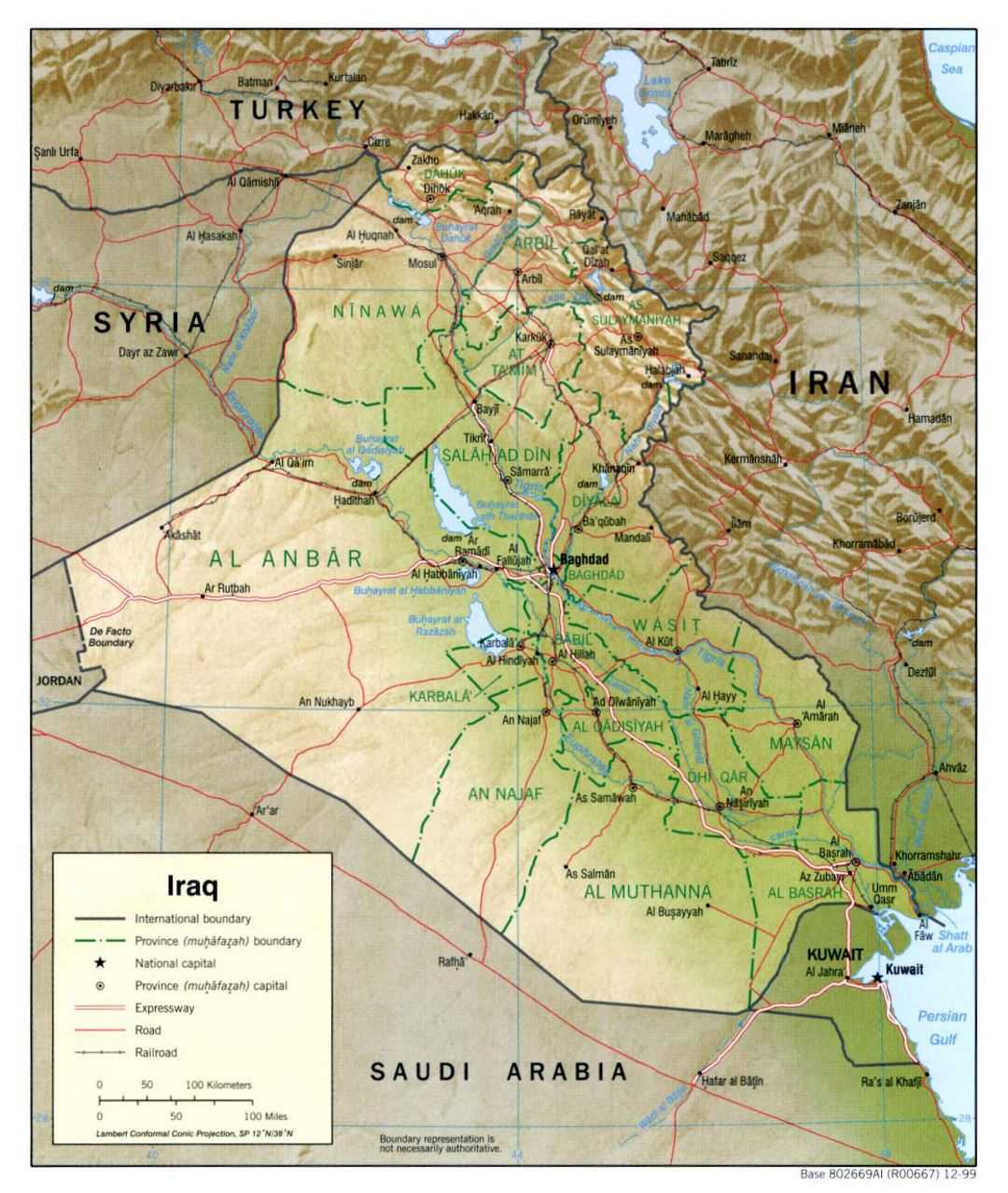 Large political and administrative map of Iraq with relief, roads, railroads and major cities - 1999