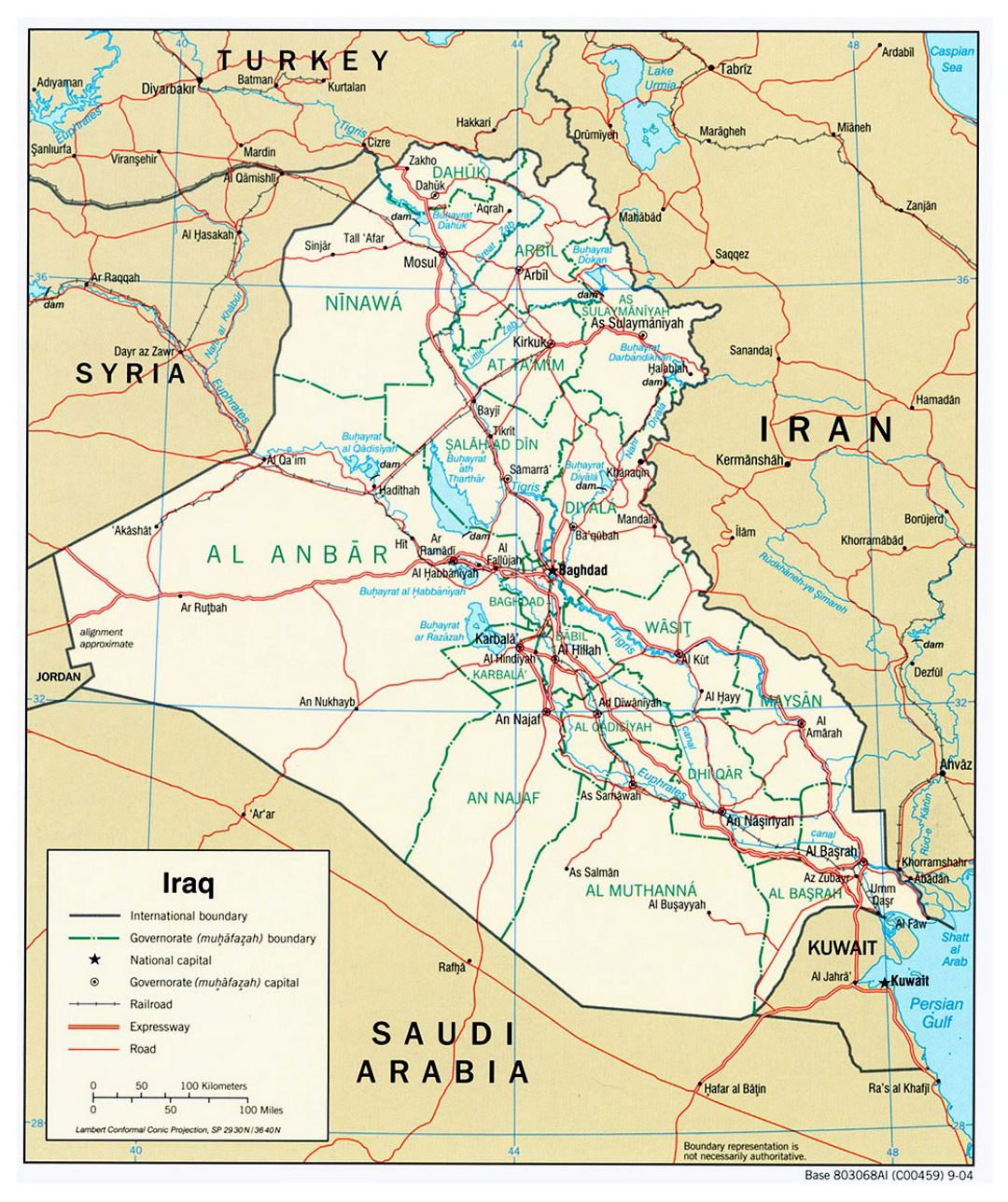 Large political and administrative map of Iraq with roads and cities - 2004