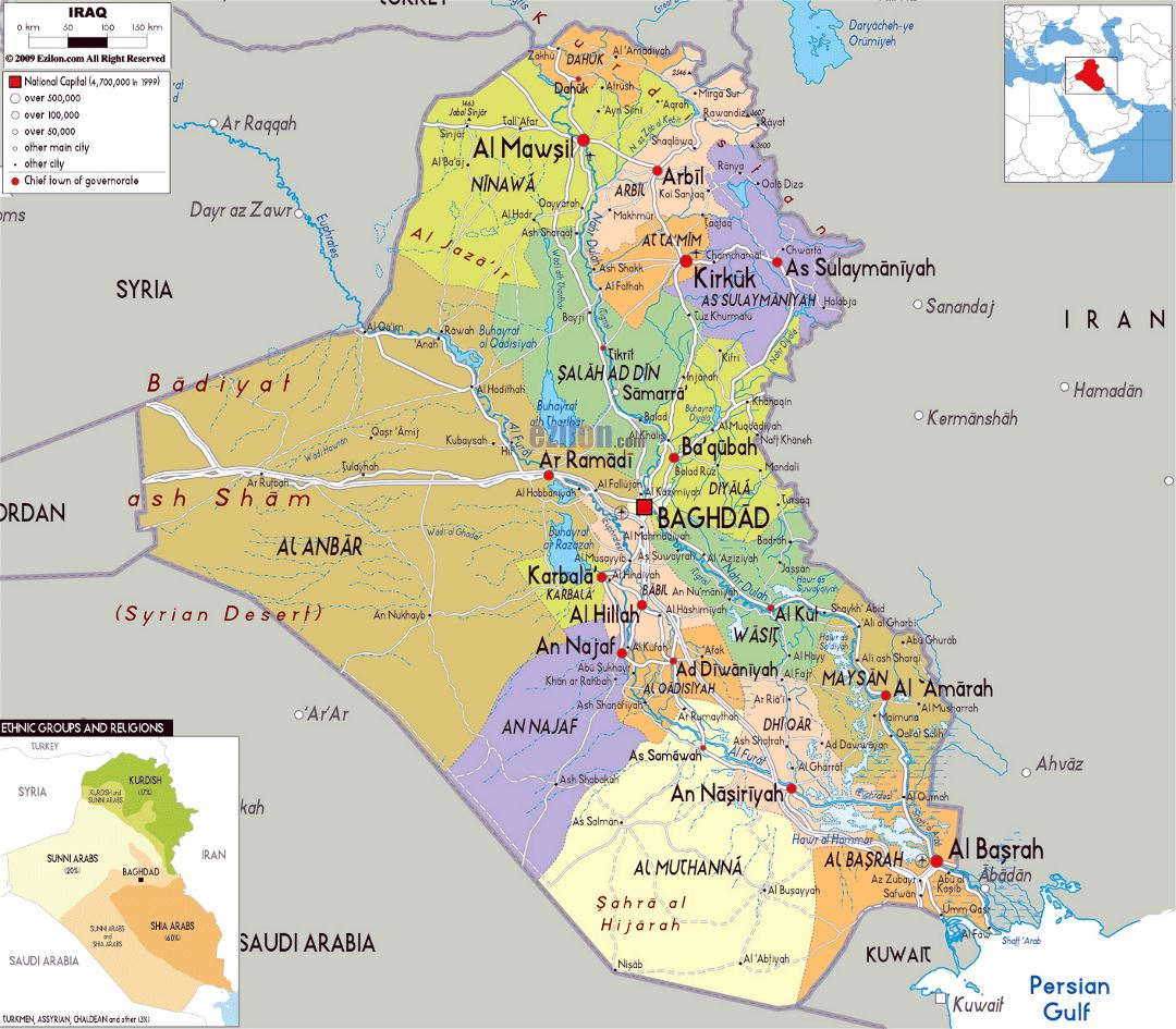 Large political and administrative map of Iraq with roads, cities and airports
