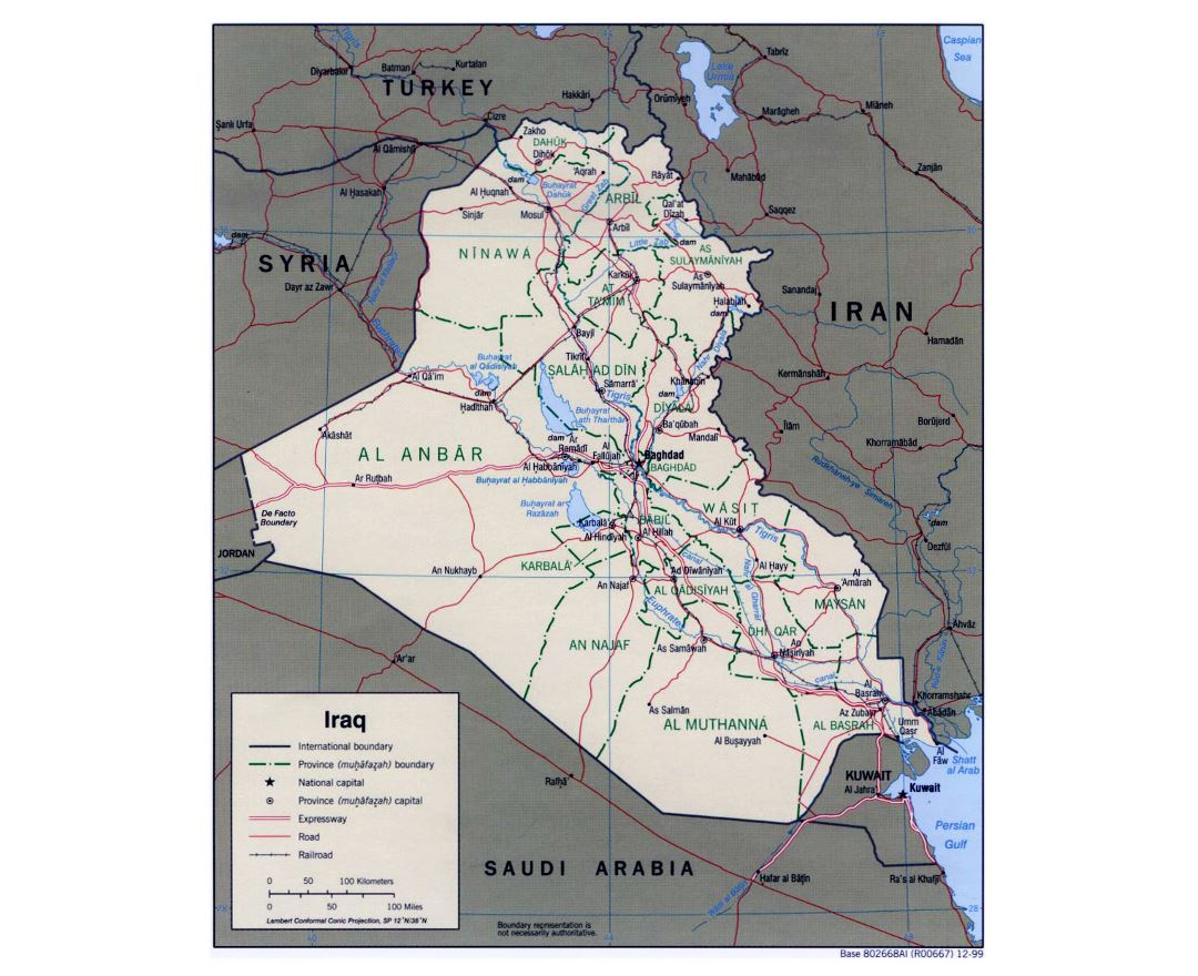 Large political and administrative map of Iraq with roads, railroads and major cities - 1999