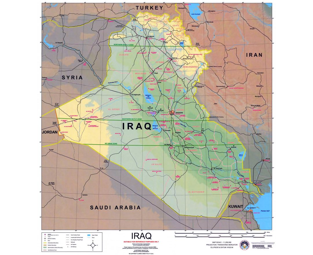 Large political and elevation map of Iraq with roads, cities and airports