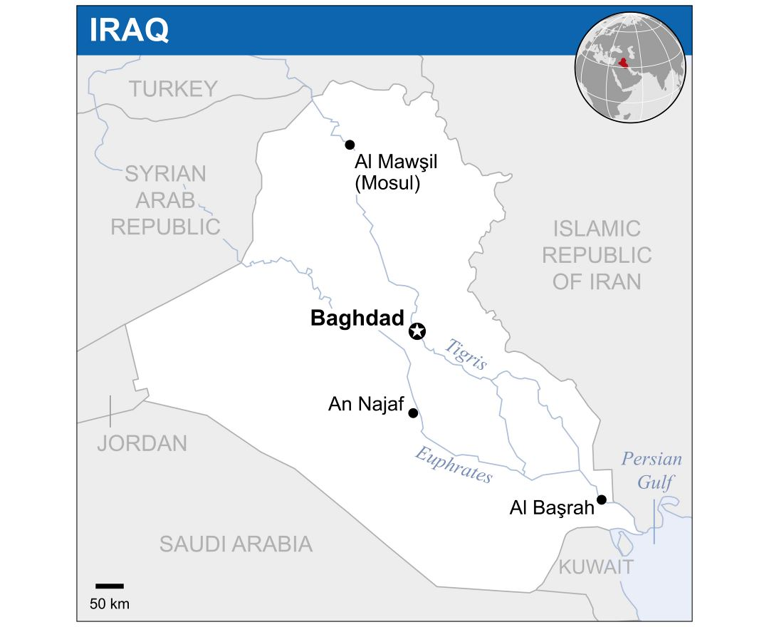 Large political map of Iraq