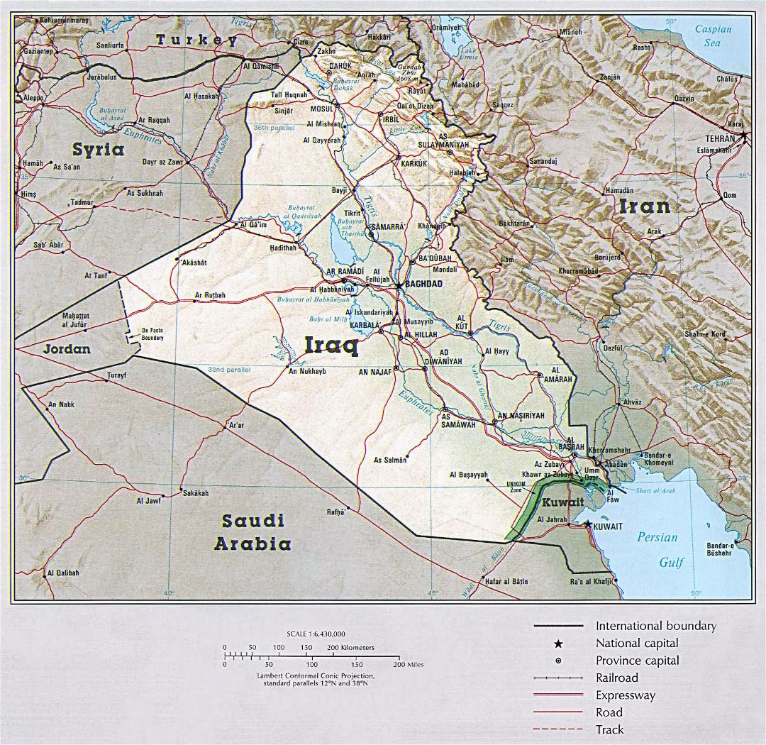 Large political map of Iraq with relief, roads, railroads and major cities