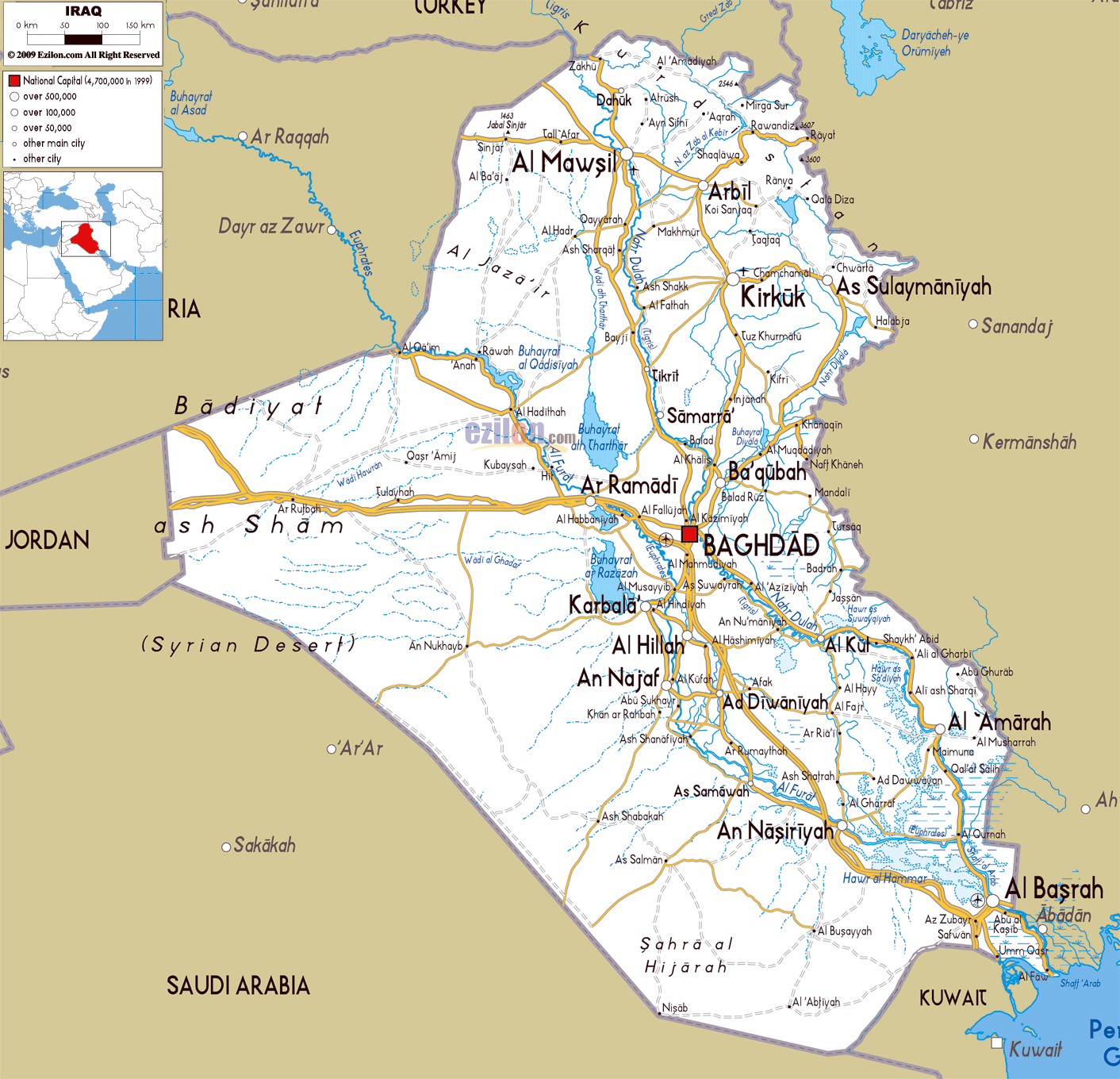 large road map of iraq with cities and airports