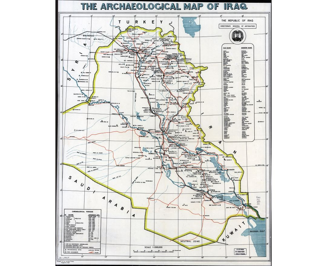 large scale archaeological map of iraq 1967
