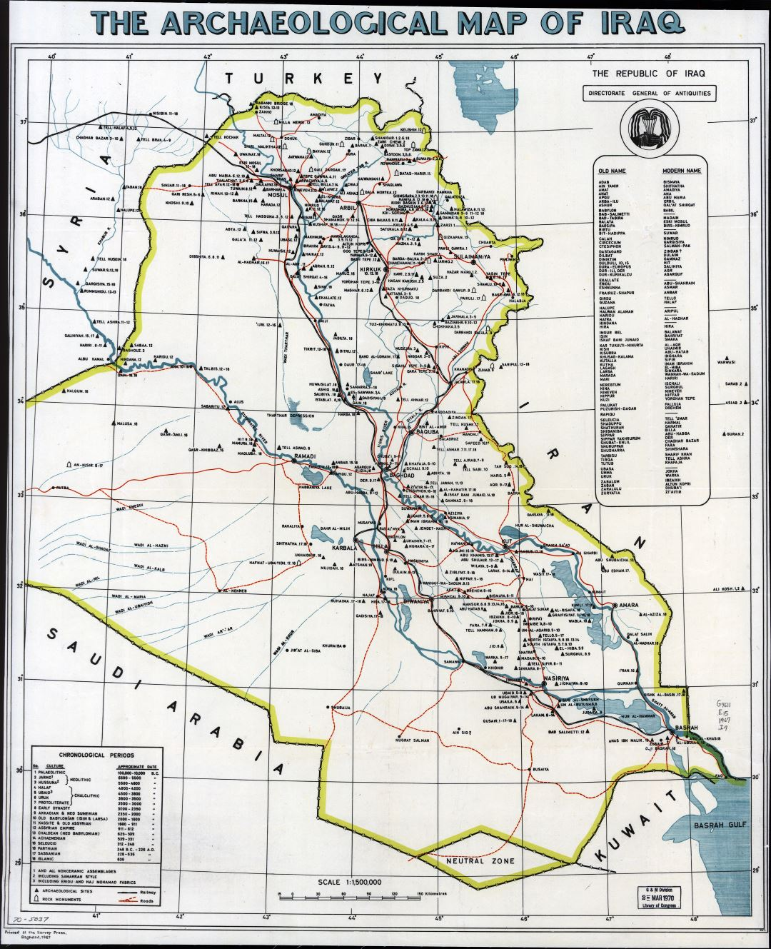 Large scale archaeological map of Iraq - 1967