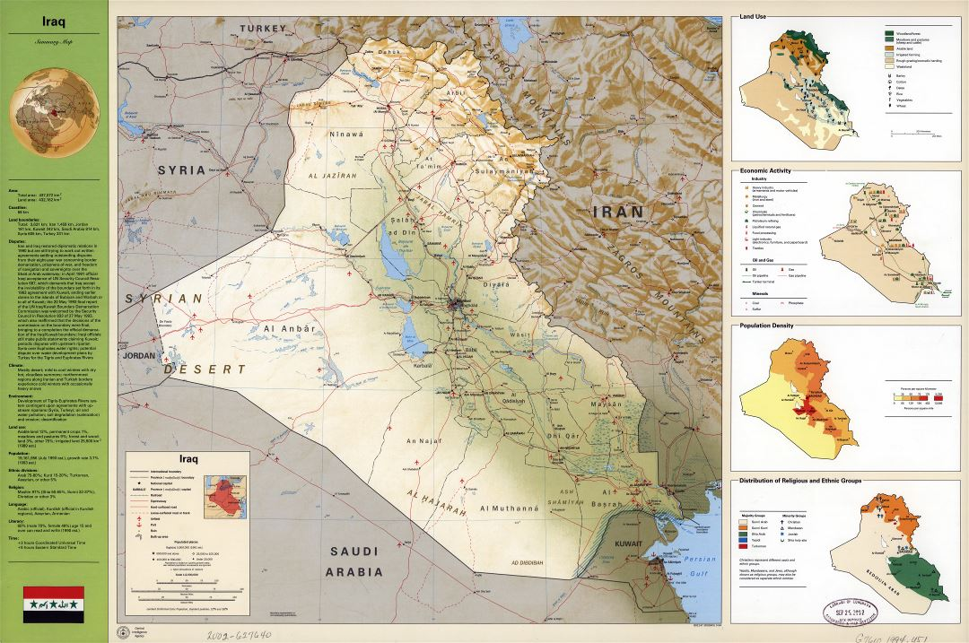 Large scale detailed country profile map of Iraq - 1994
