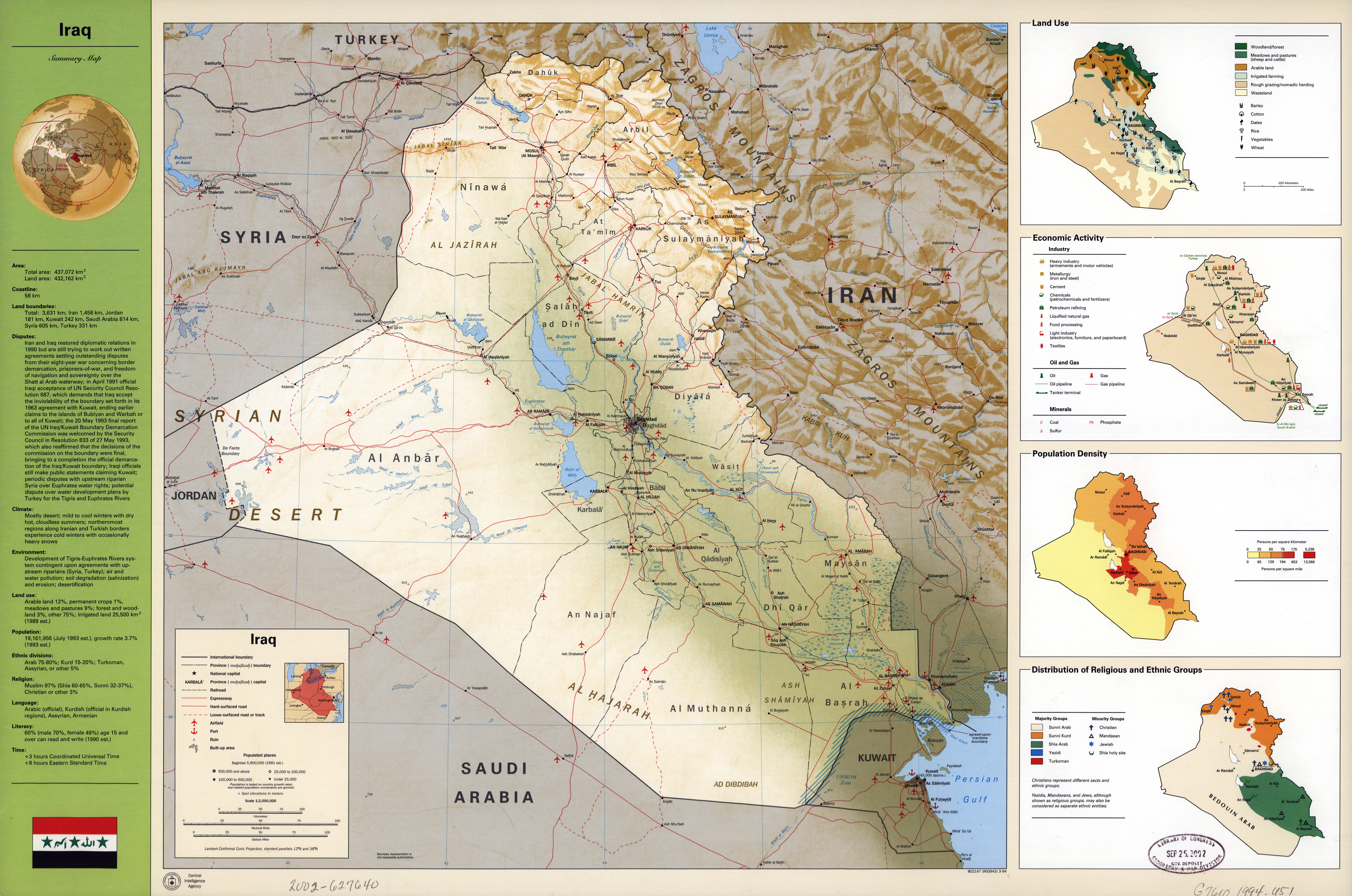 Large scale detailed country profile map of iraq 1994 iraq large scale detailed country profile map of iraq 1994 gumiabroncs Images