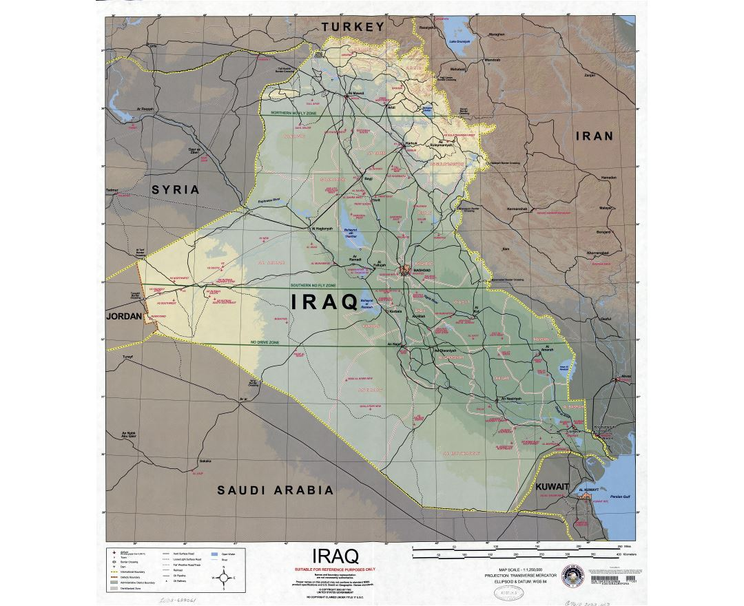 Large scale detailed map of Iraq with other marks - 2003