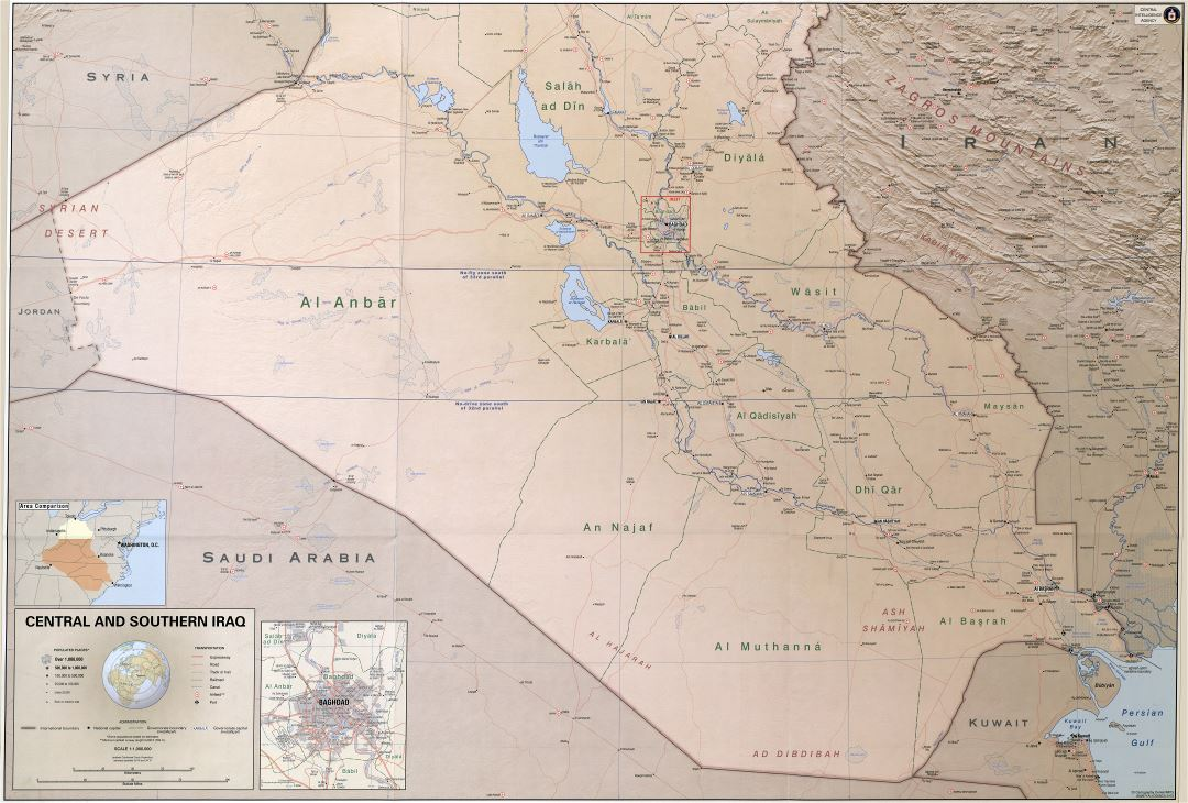 Large scale detailed political and administrative map of Central and Southern Iraq with relief, roads, railroads, cities, ports, airports and other marks - 2003