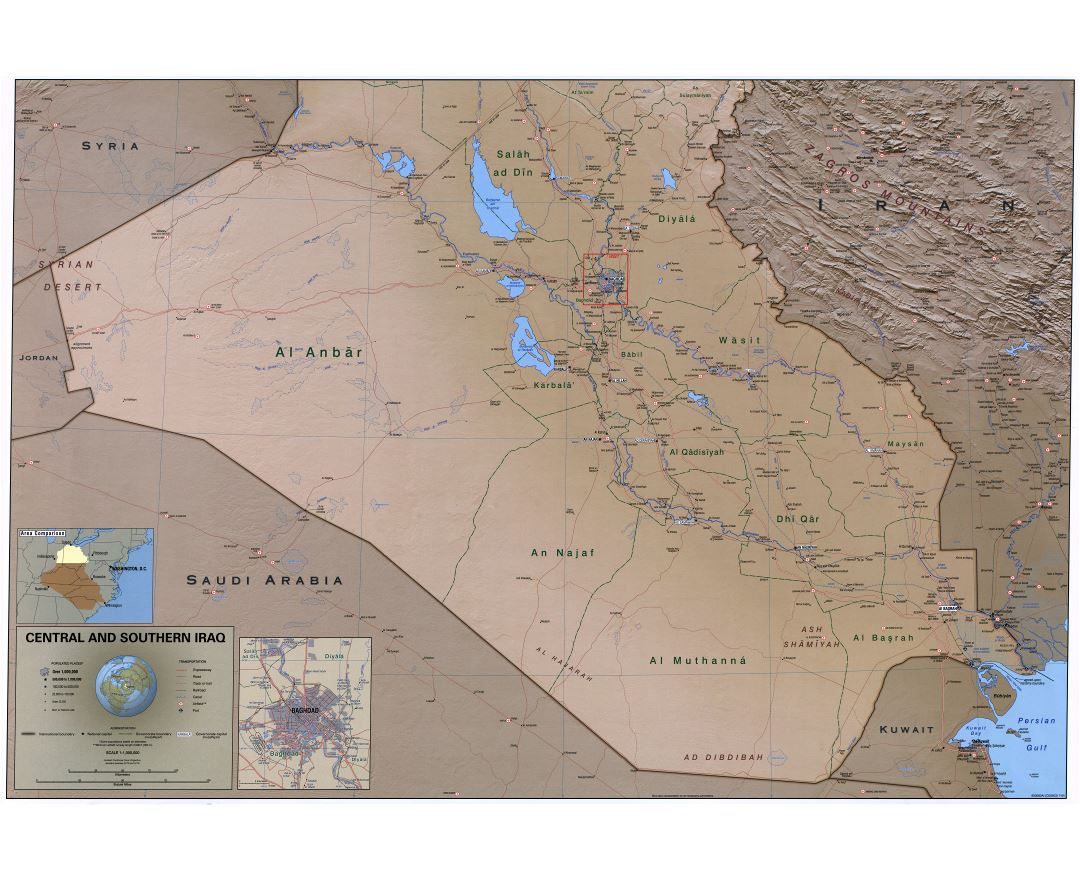 Large scale detailed political and administrative map of Central and Southern Iraq with relief, roads, railroads, cities, ports, airports and other marks - 2004