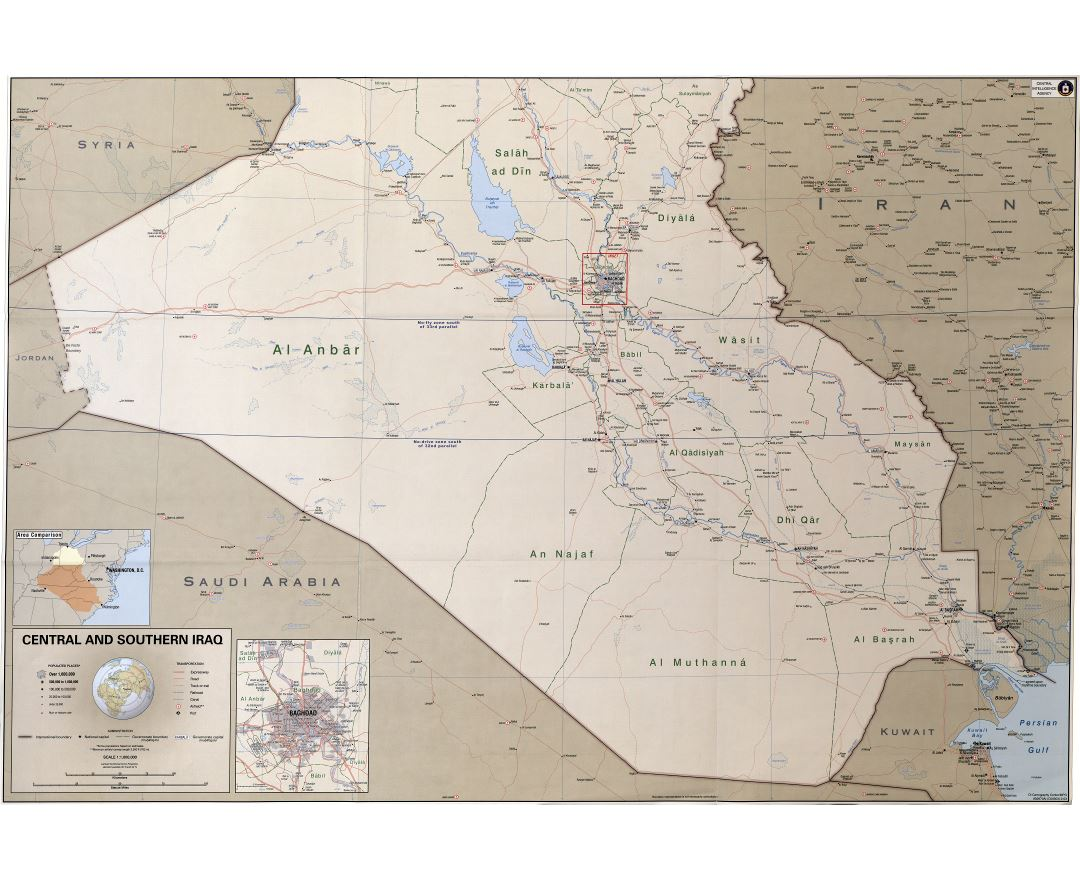 Large scale detailed political and administrative map of Central and Southern Iraq with roads, railroads, cities, ports, airports and other marks - 2003