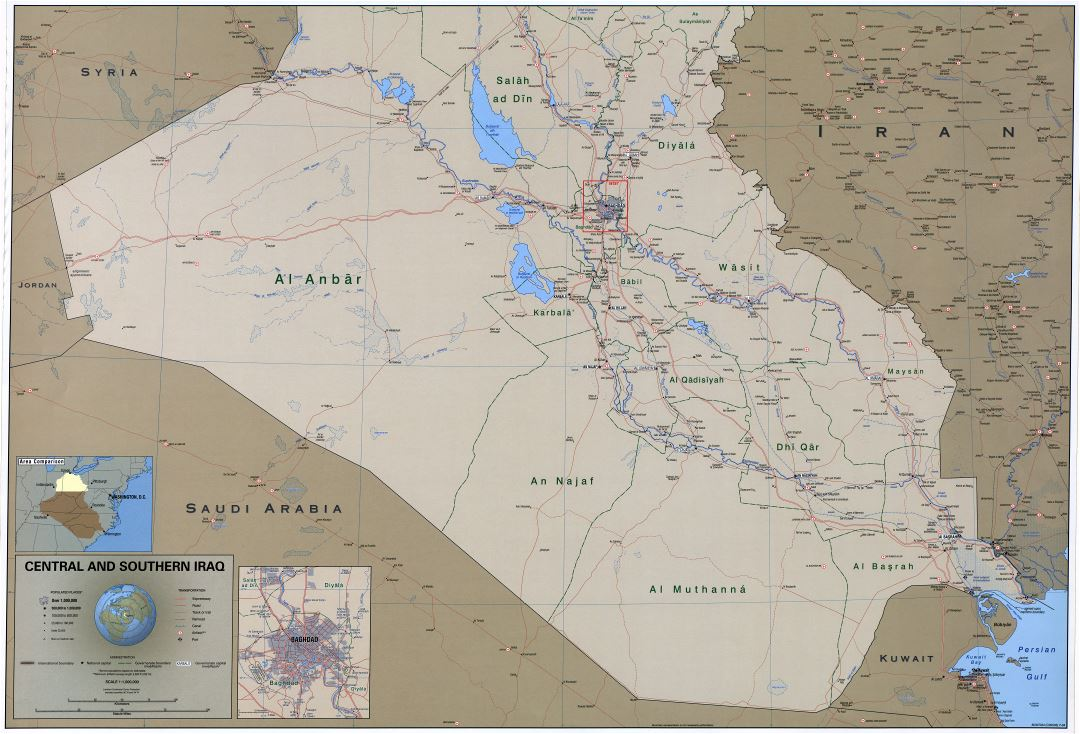 Large scale detailed political and administrative map of Central and Southern Iraq with roads, railroads, cities, ports, airports and other marks - 2004