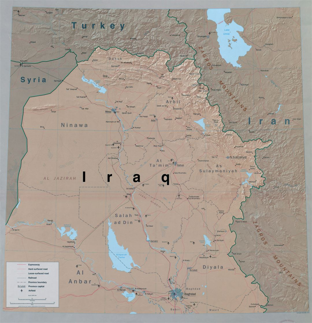 Large scale detailed political and administrative map of Northern Iraq with relief, roads, railroads, cities and airports - 2001