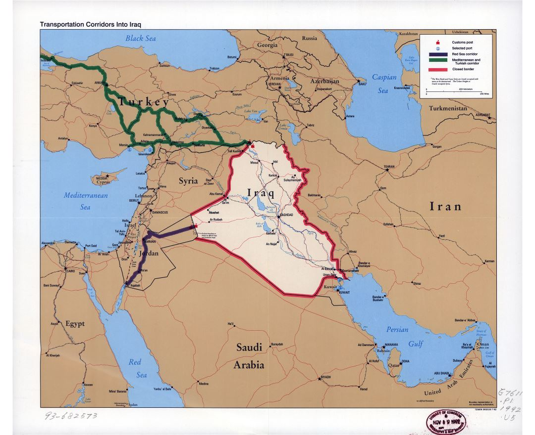 Large scale map of transportation corridors into Iraq - 1992