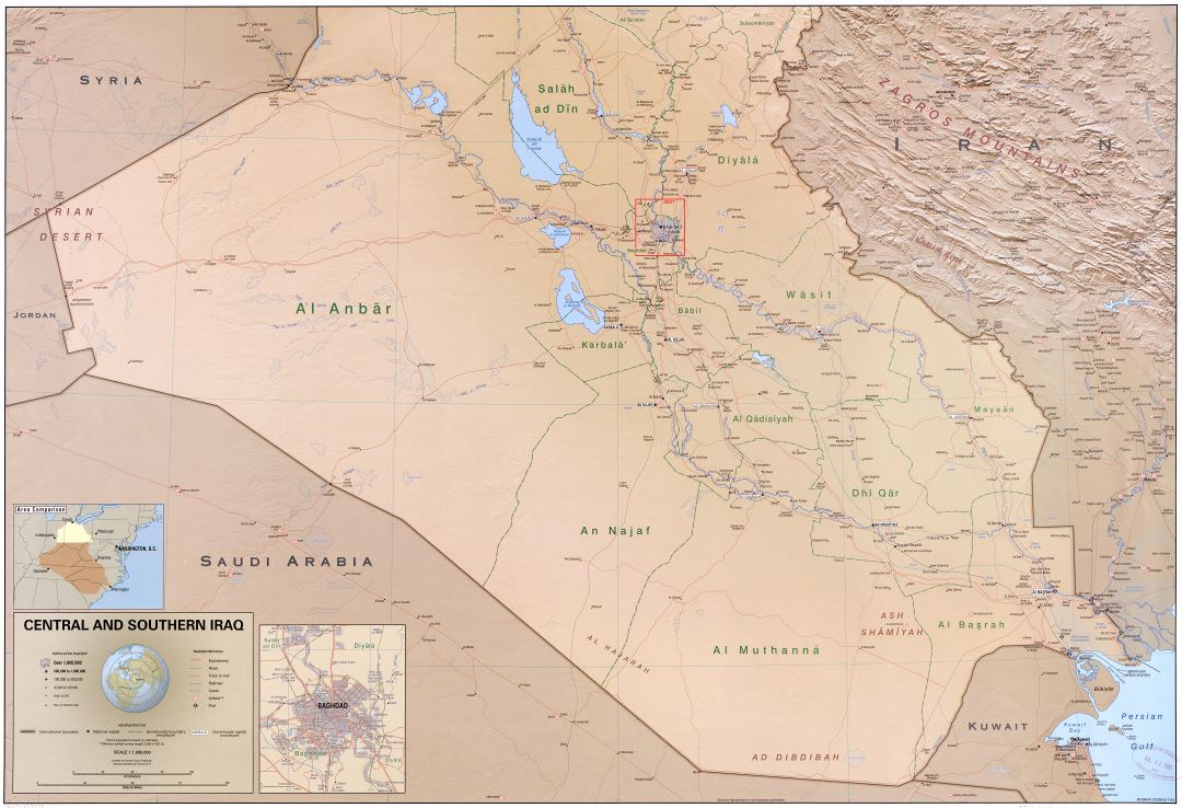 Large scale political and administrative map of Central and Southern Iraq with relief, roads, railroads, cities, ports, airports and other marks - 2004