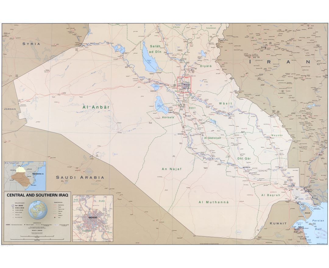 Large scale political and administrative map of Central and Southern Iraq with roads, railroads, cities, ports, airports and other marks - 2004