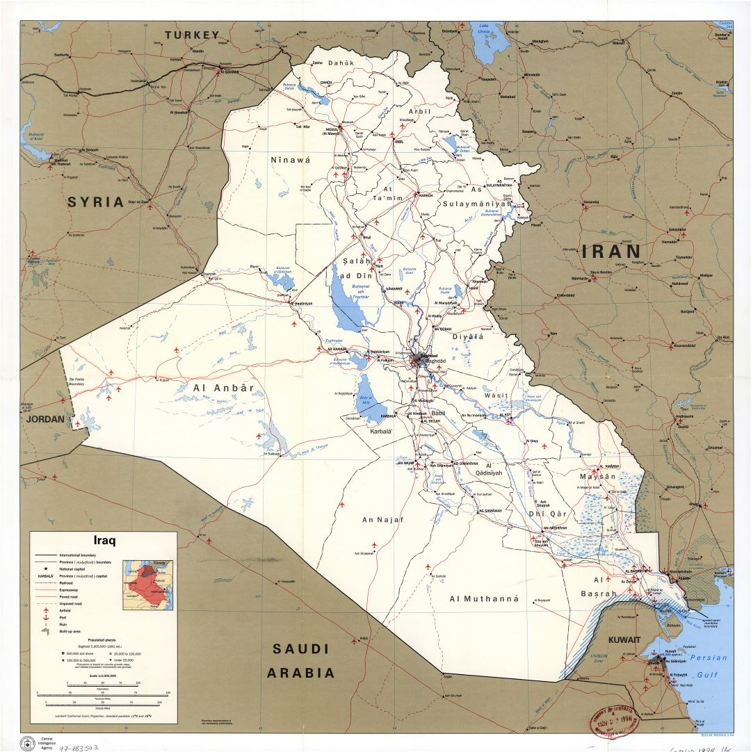 Large scale political and administrative map of Iraq with roads, railroads, cities, ports, airports and other marks - 1994