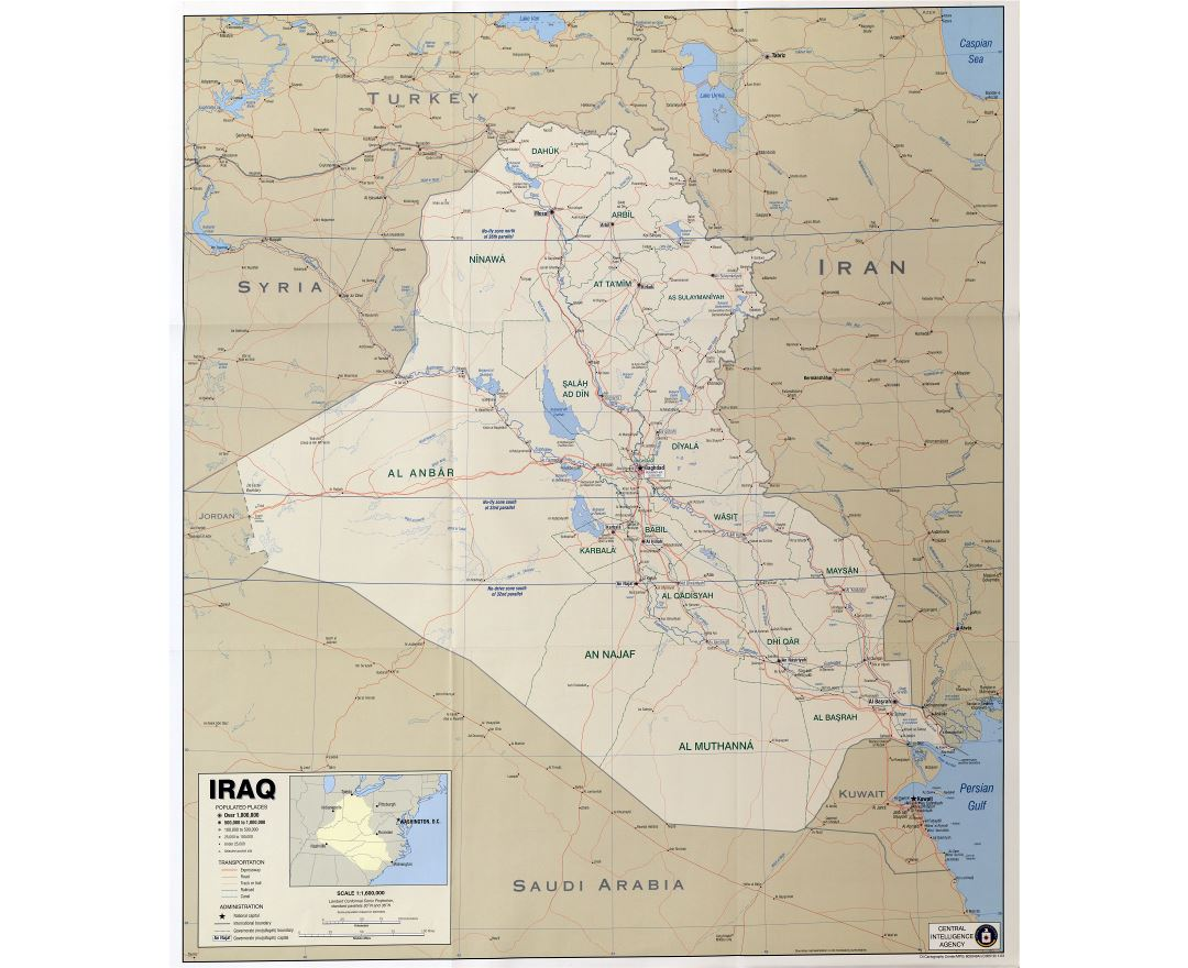 Large scale political map of Iraq with other marks - 2003