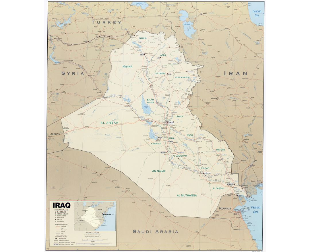 Large scale political map of Iraq with other marks - 2004