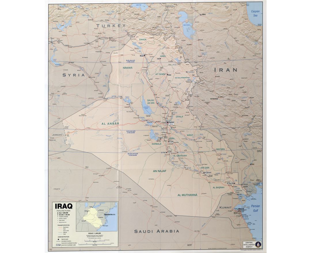 Large scale political map of Iraq with relief and other marks - 2003