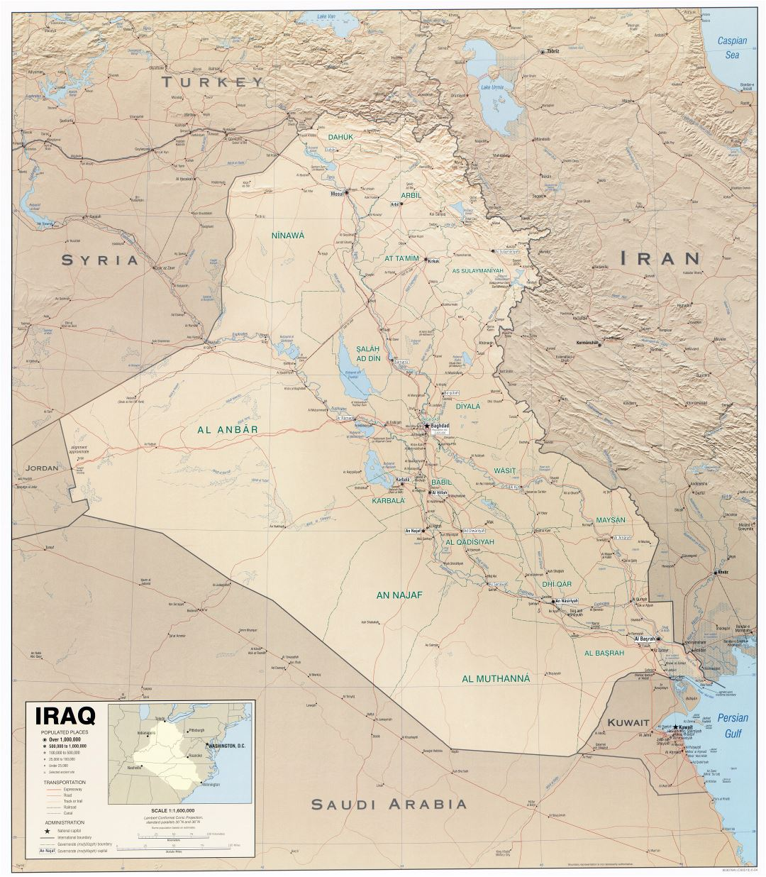 Large scale political map of Iraq with relief and other marks - 2004