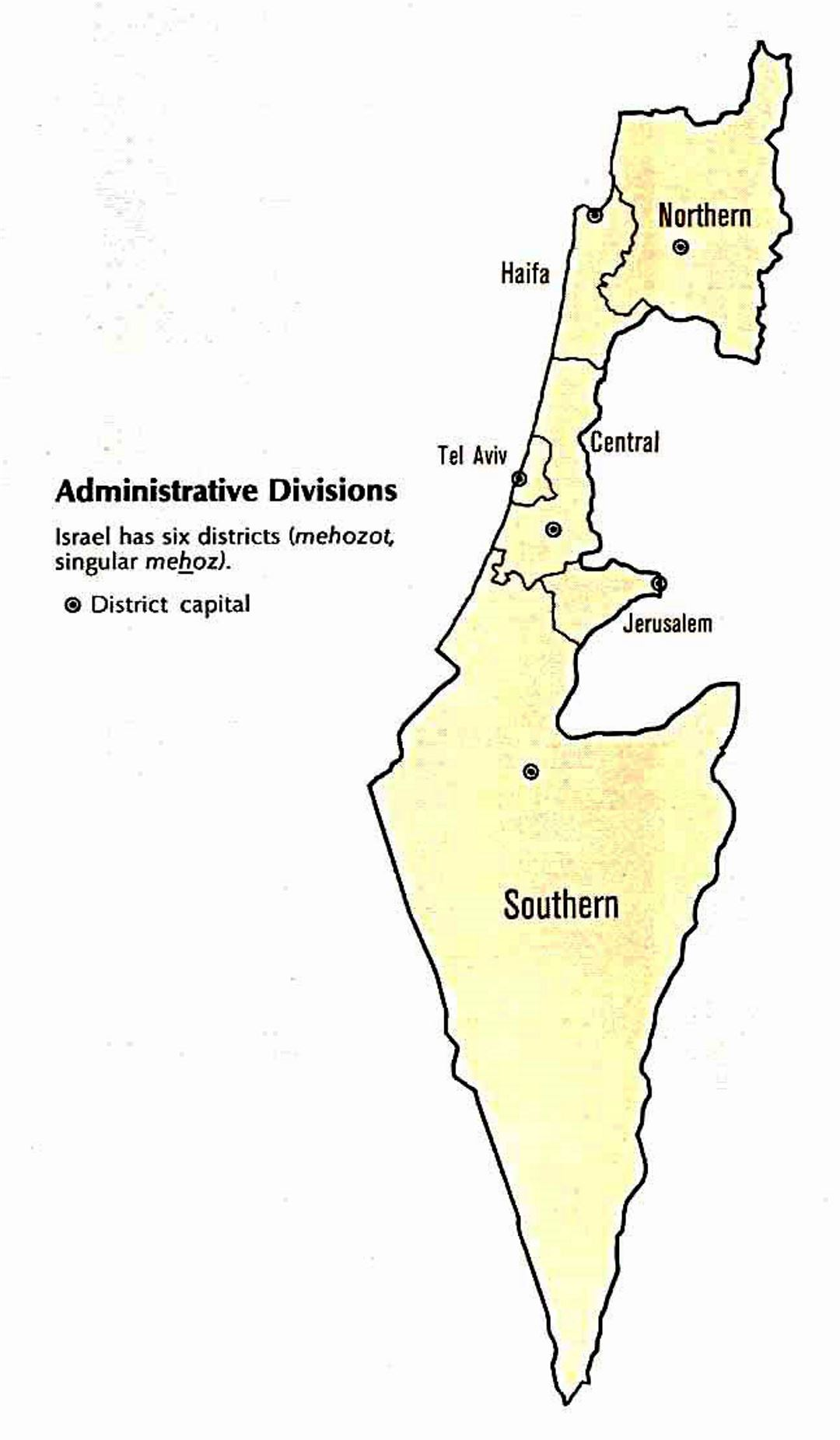 Administrative divisions map of Israel